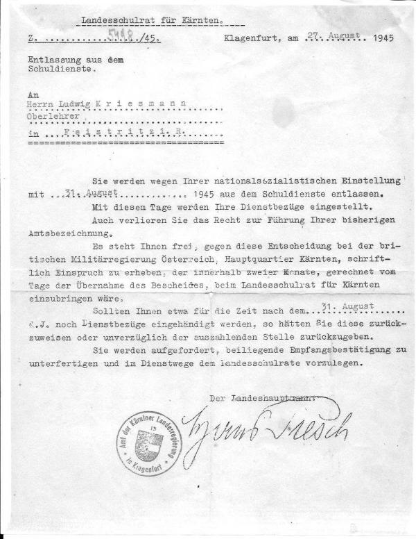 Letter Of Dismissal As Teacher 1945 | Wilhelm L. Kriessmann Archive